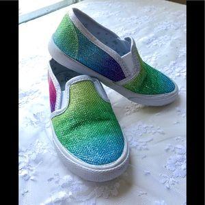 Cat & Jack Rainbow Glitter Loafer Sneakers Sz 10